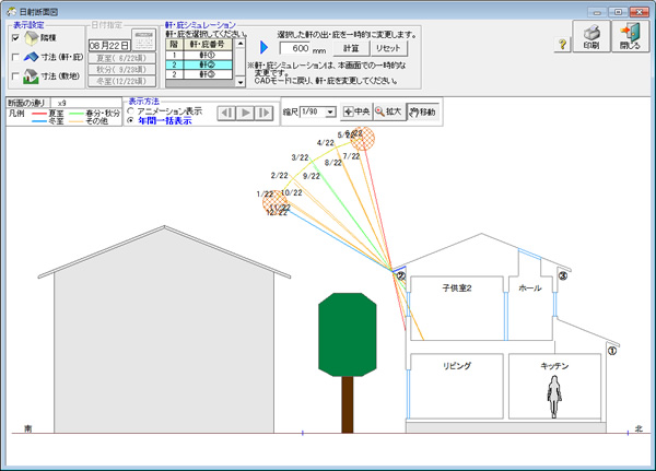 1ヶ月ごとの太陽高度の変化と、軒や庇がどのように日射を遮るかを一括して表示できます。