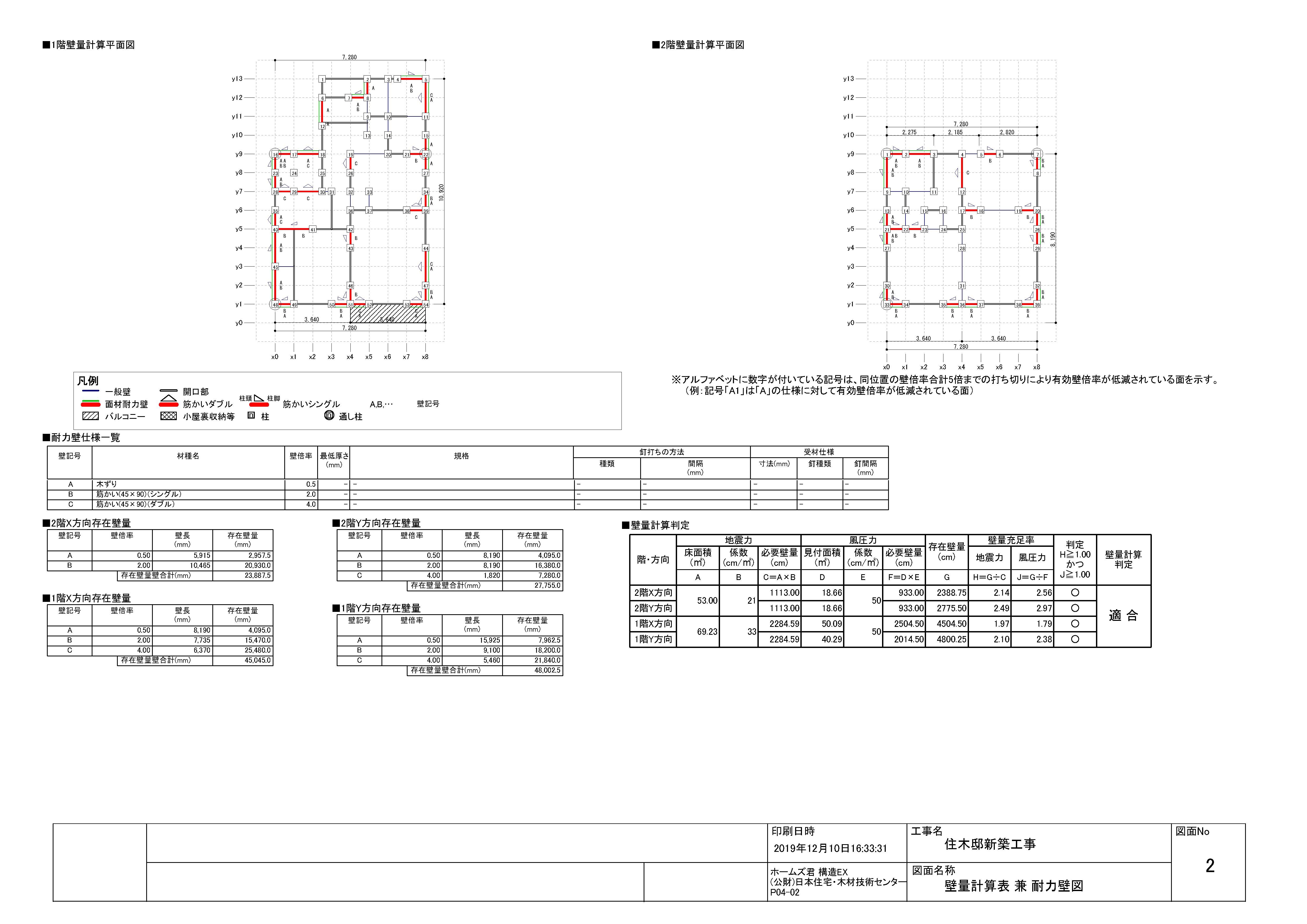 壁量計算表 兼 耐力壁図