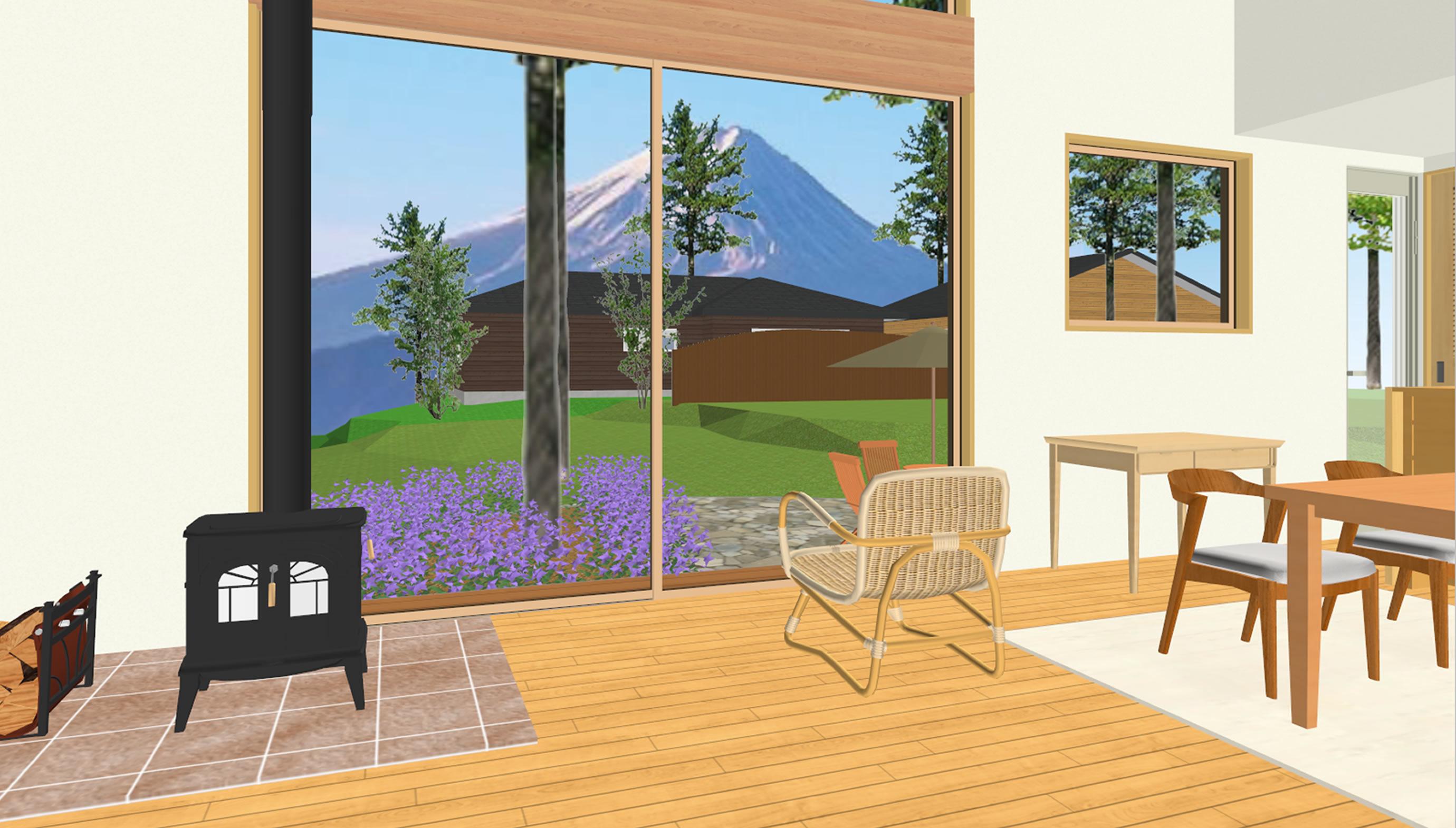 富士山麓の家眺望(リビング)