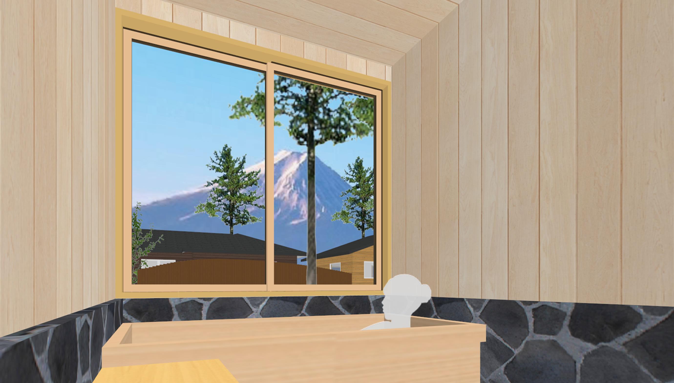 富士山麓の家眺望(浴室)