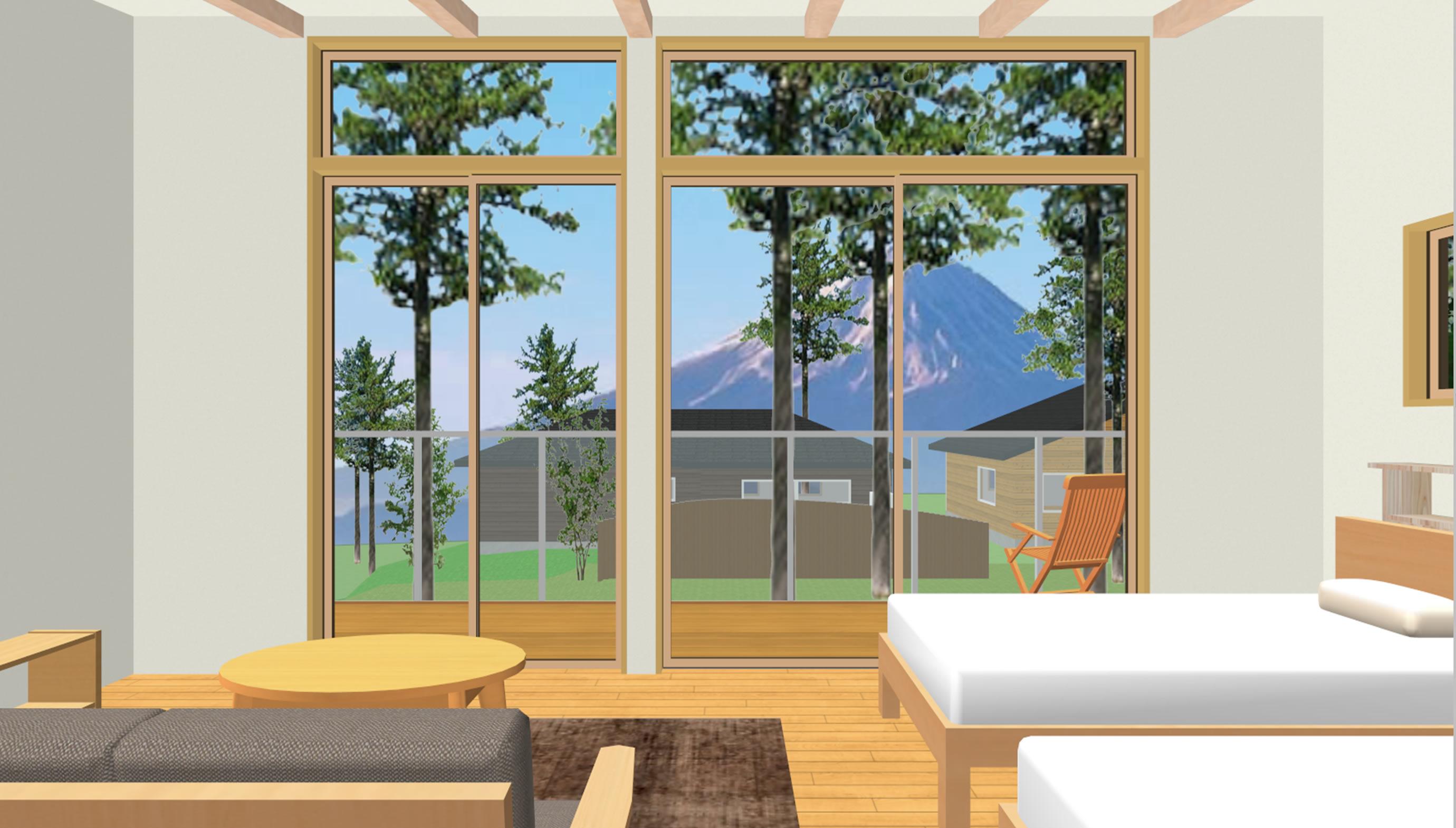 富士山麓の家眺望(2階ゲストルーム)