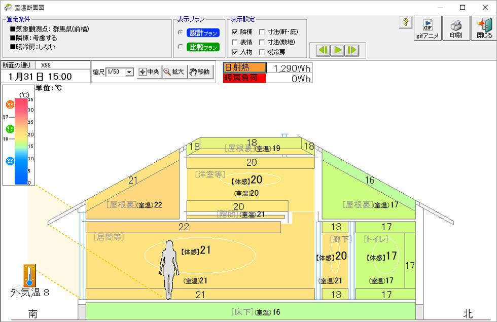 前橋の家室温シミュレーション (ホームズ君「省エネ診断エキスパート」)